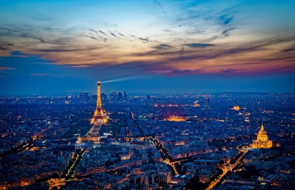Paris lit up at night