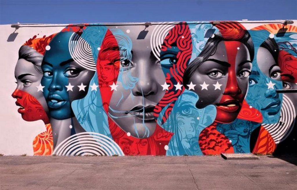 Wynwood Walls red and white faces