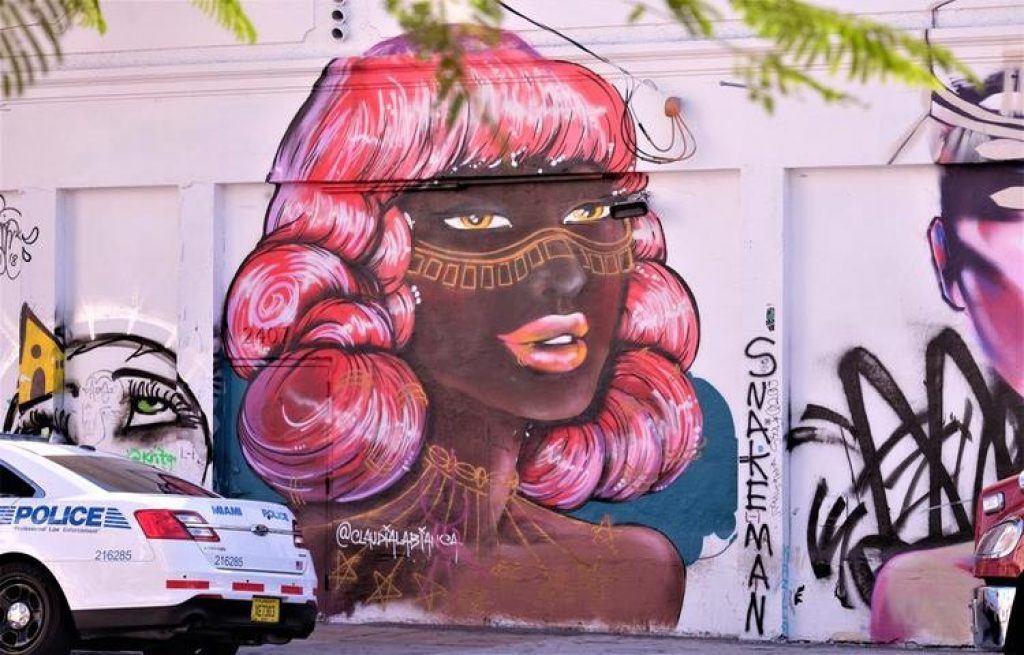 Wynwood Walls pink hair mural