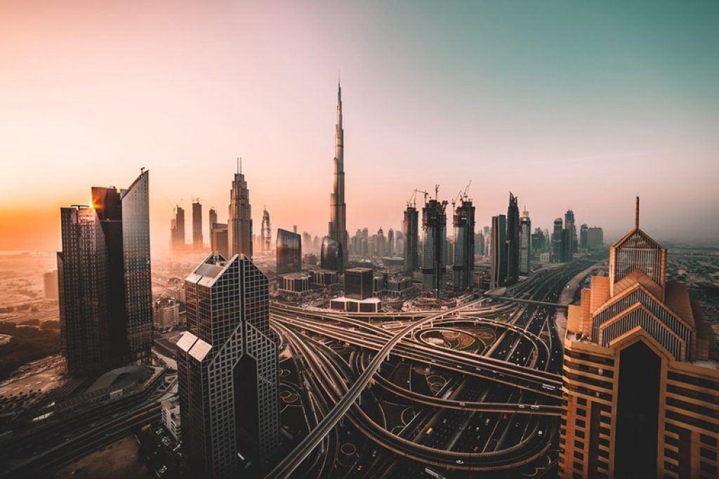 dubai city with burj khalifa in uae