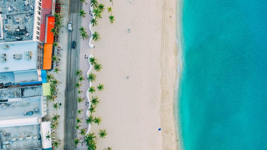 aerial view of beach in miami