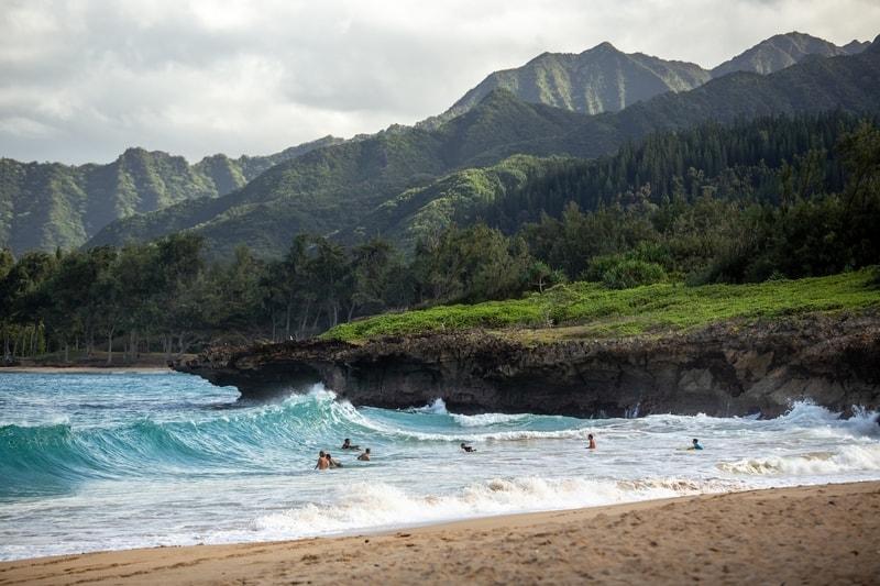 hawaiian beach with surfers on the waves