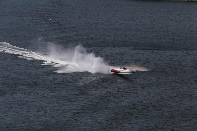 Jet boat in the ocean