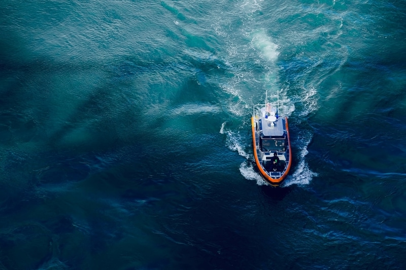 Overhead shot of a boat in the ocean